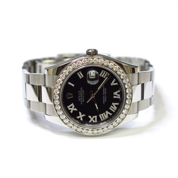 Rolex Datejust II 41mm Stainless Steel Custom Diamonds Mens Watch 116300