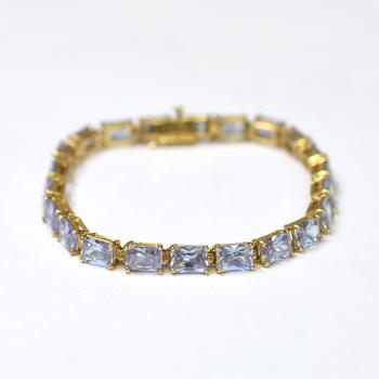 14K Yellow Gold 16.75 Grams Lab Created Aquamarine Bracelet