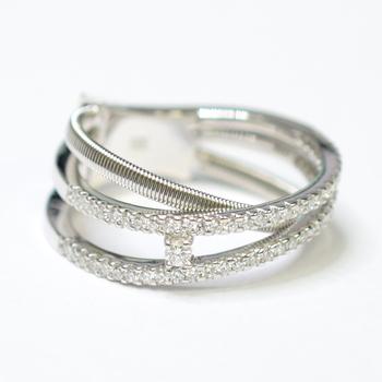 14K White Gold 5.60 Grams Overlap Design Diamond Ring