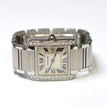 Cartier Tank Francaise 25x30mm Stainless Steel Custom Diamonds Ladies Watch 2465