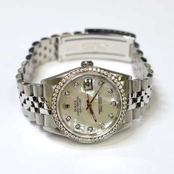 Rolex DateJust 36mm Stainless Steel Custom Diamonds Mother of Pearl Watch 16234