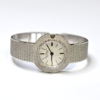 Jules Jurgensen 26mm 14K White Gold Fabric Diamonds Ladies Watch