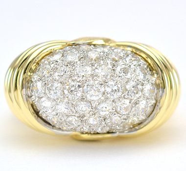 18K Yellow Gold 10.30 Grams 1.34 Carats t.w. Diamond Dome Style Lady's Ring