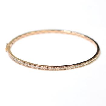 14K Rose Gold 6.60 Grams 0.46 Carats t.w. Round Diamond Bangle Bracelet