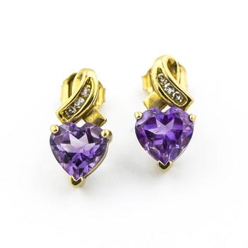 10K Yellow Gold 2.36 Grams Amethyst and Diamond Earrings