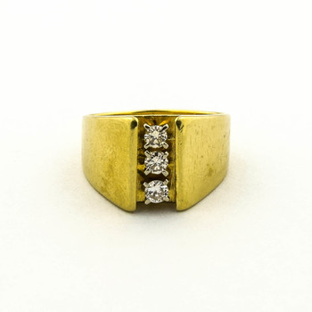 14K Yellow Gold 8.95 Grams Three Stone Style Diamond Ring