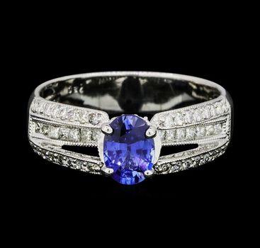 18K White Gold 6.00 Grams Diamond Split Shank Ring With Oval Shape Sapphire Center