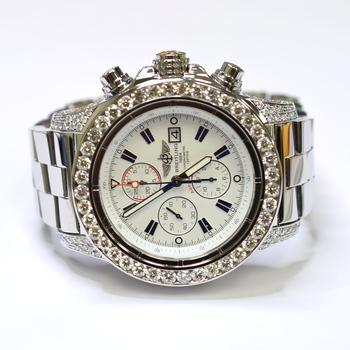 Breitling Super Avenger II 48mm Stainless Steel Custom Diamond Mens Watch A13370