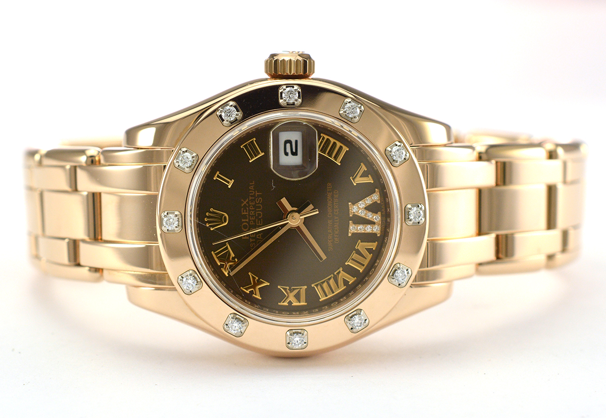 Rolex pearlmaster datejust 18k everest gold factory diamond bezel with chocolate dial lady 39 s for Rolex pearlmaster