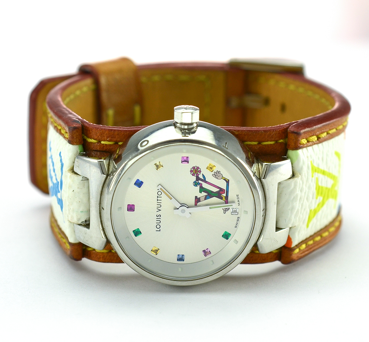 c8164ed49d1c Louis Vuitton Limited Edition Murakami Tambour Stainless Steel Lady s Watch  on Multi - Colored Monogram Coated Canvas Strap With Leather Trim