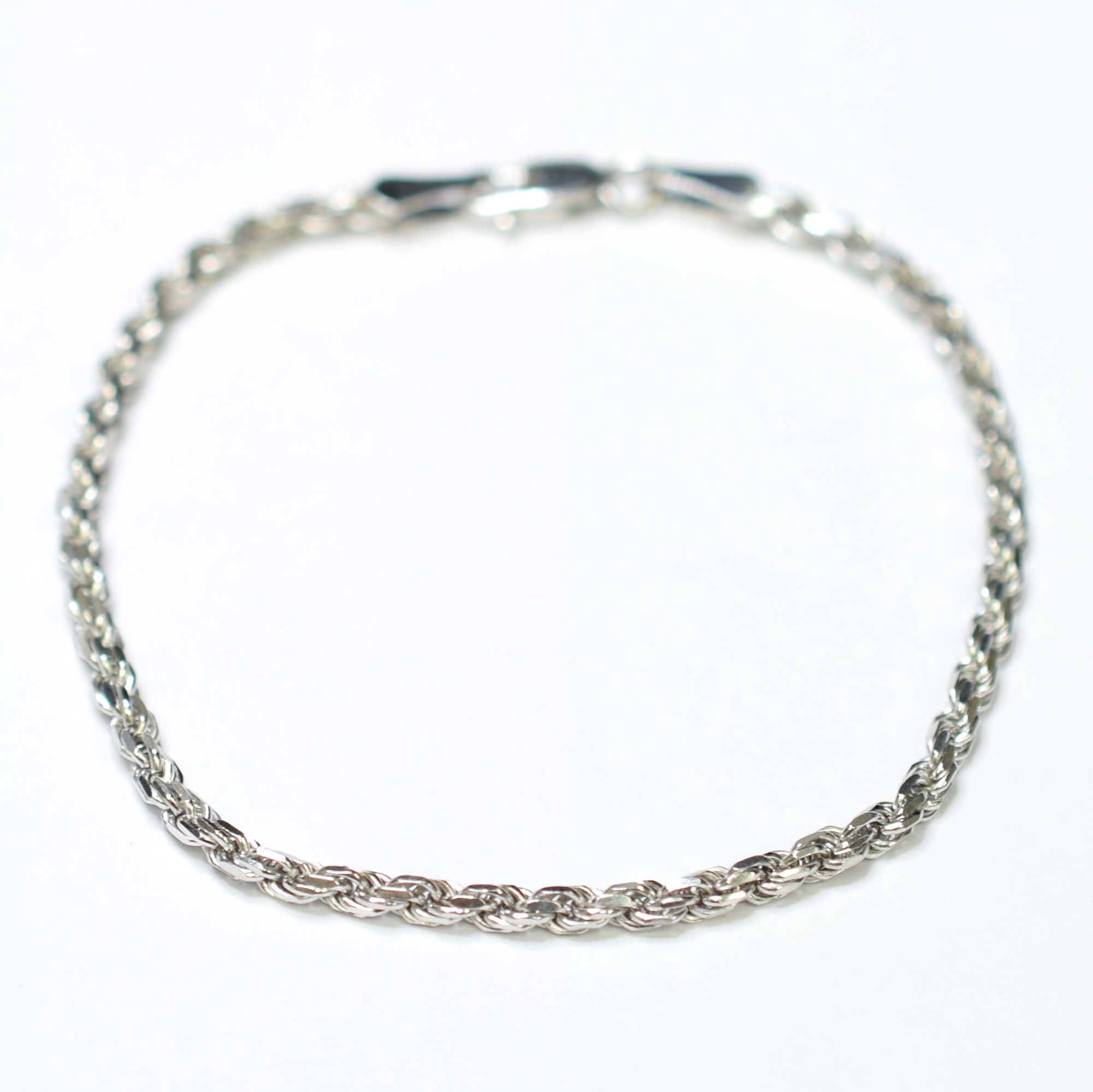 14k White Gold 3 48 Grams Rope Chain Style Bracelet