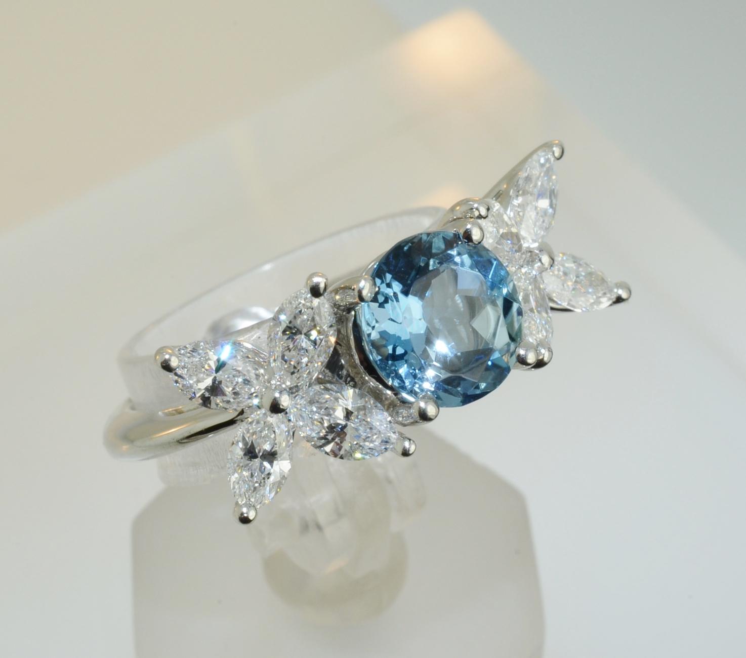 Tiffany Amp Co Platinum Victoria Diamond And Aquamarine
