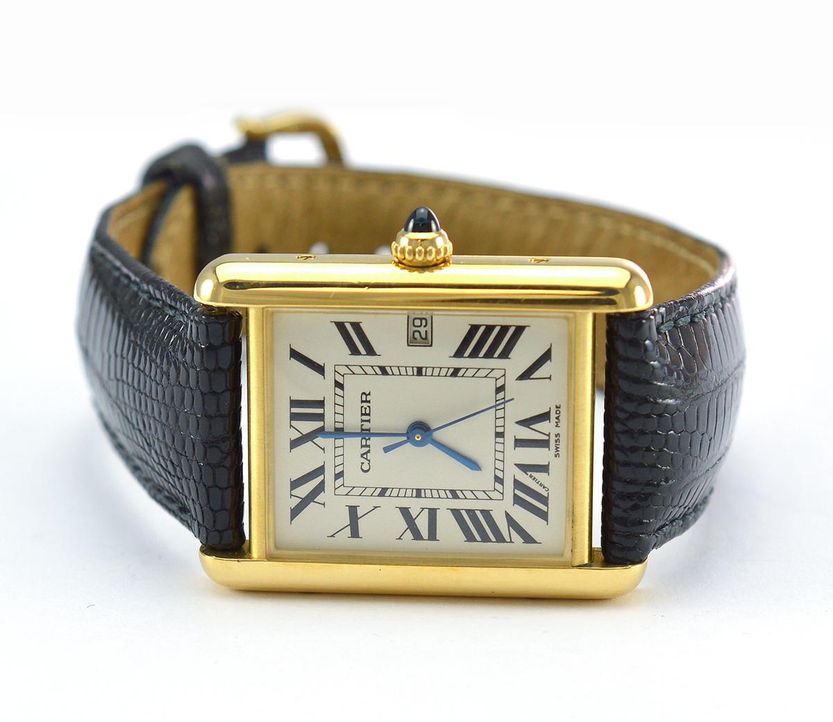 Cartier Tank Louis 18k Gold Ivory Dial Watch On Black