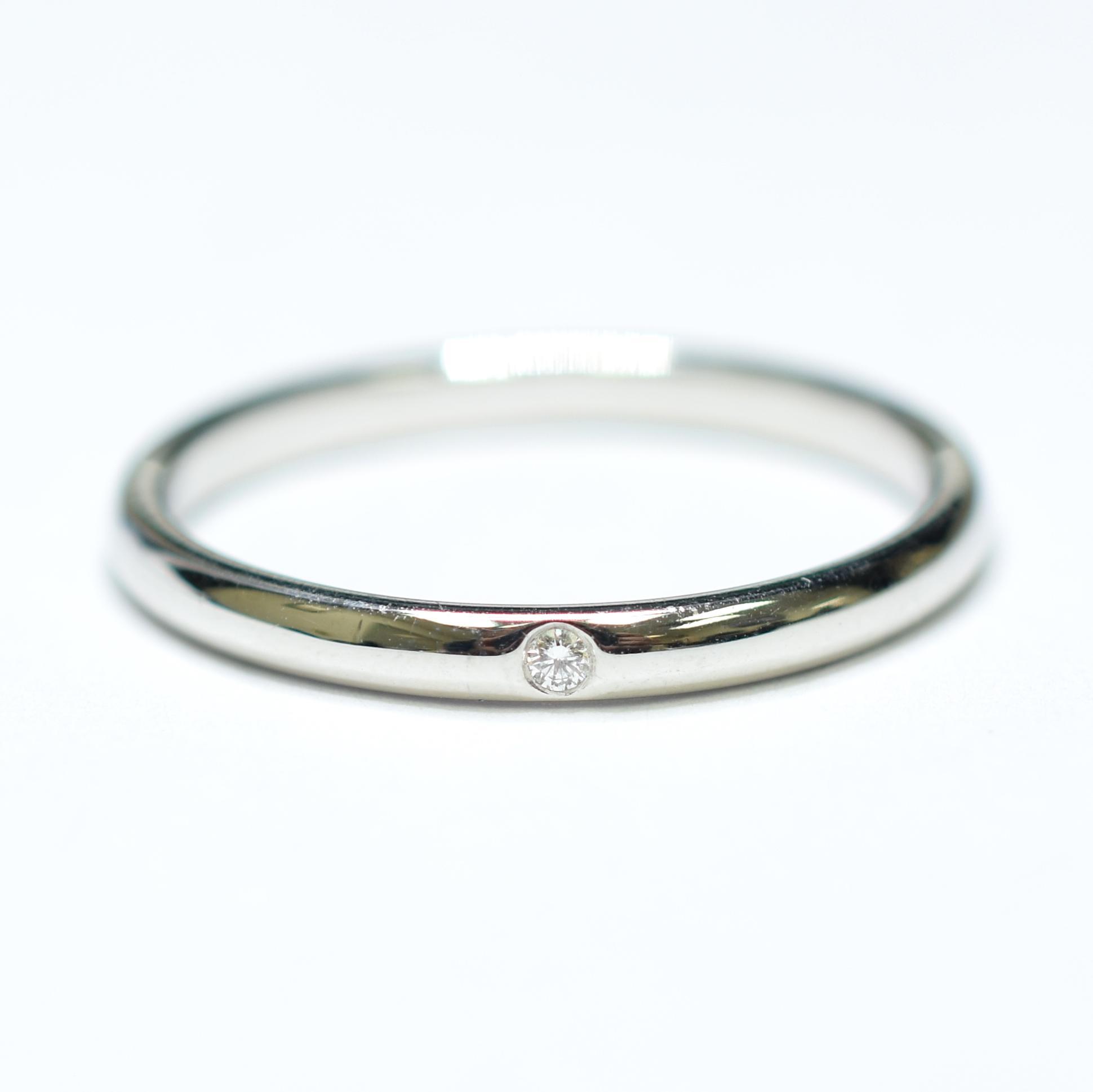 9c0f327a3 Image 1 of 2. Tiffany & Co. Elsa Peretti Design Platinum Bezel Set Round  Diamond Ring