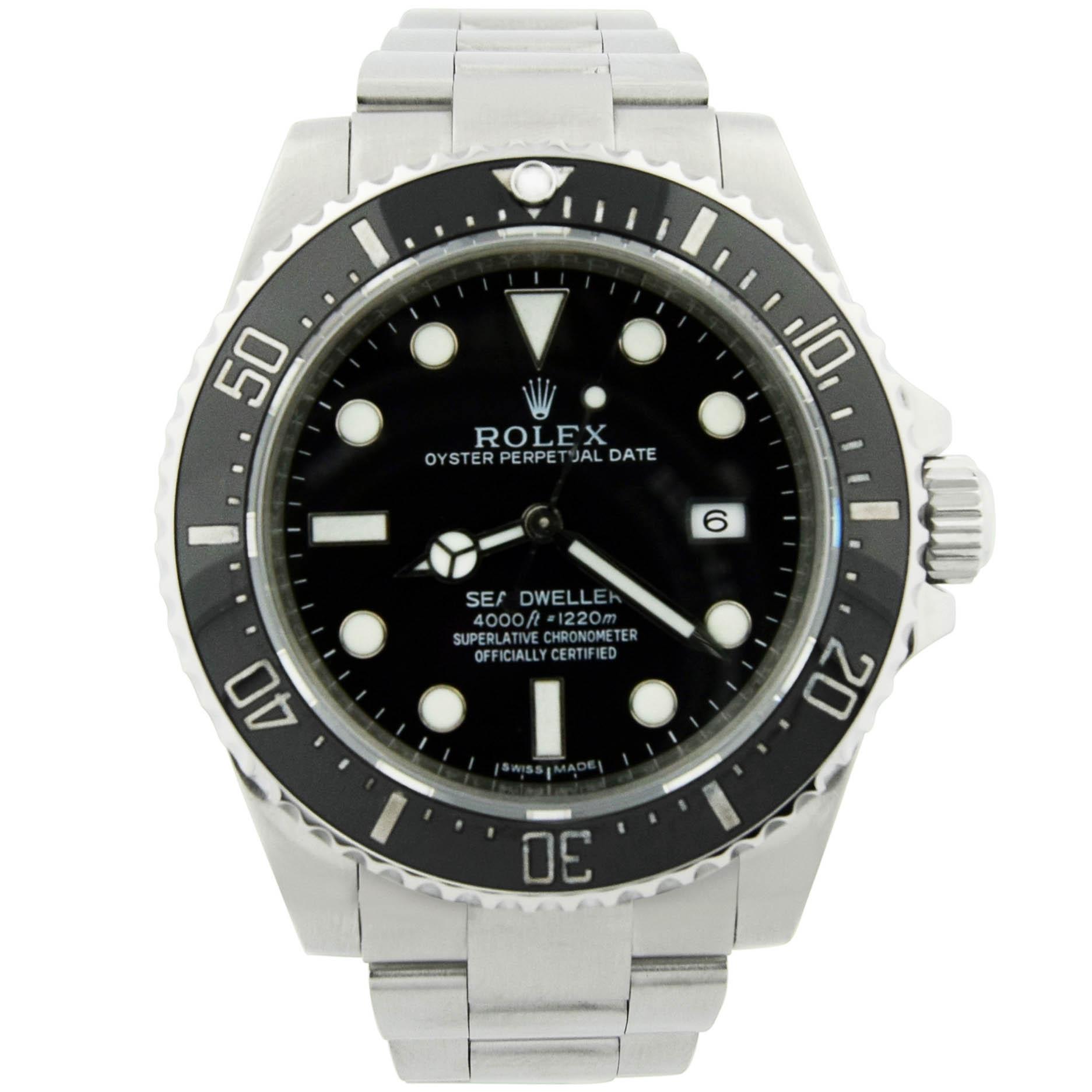 bedc85709b0 Rolex Sea-Dweller Mens 40mm Black Dial Steel Ceramic Bezel 116600 ...