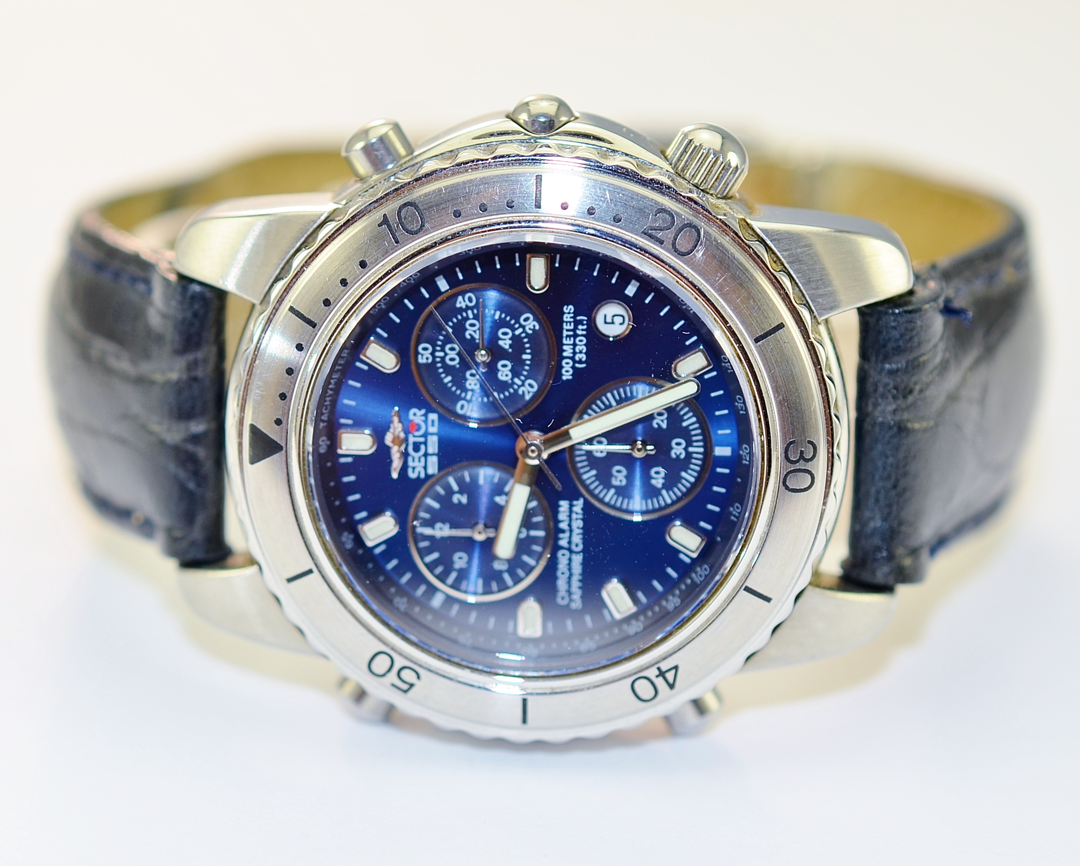 Sector 550 stainless steel blue dial chrono men 39 s watch on black leather strap property room for Metal watches