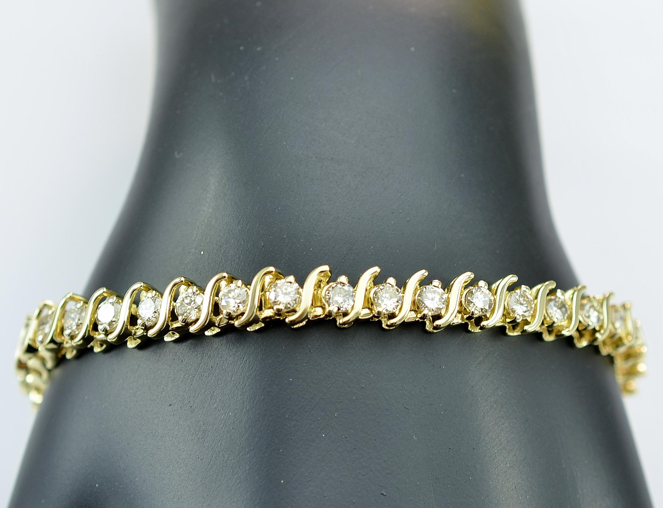 14k Yellow Gold 2 28 Carats T W Diamond Tennis Bracelet