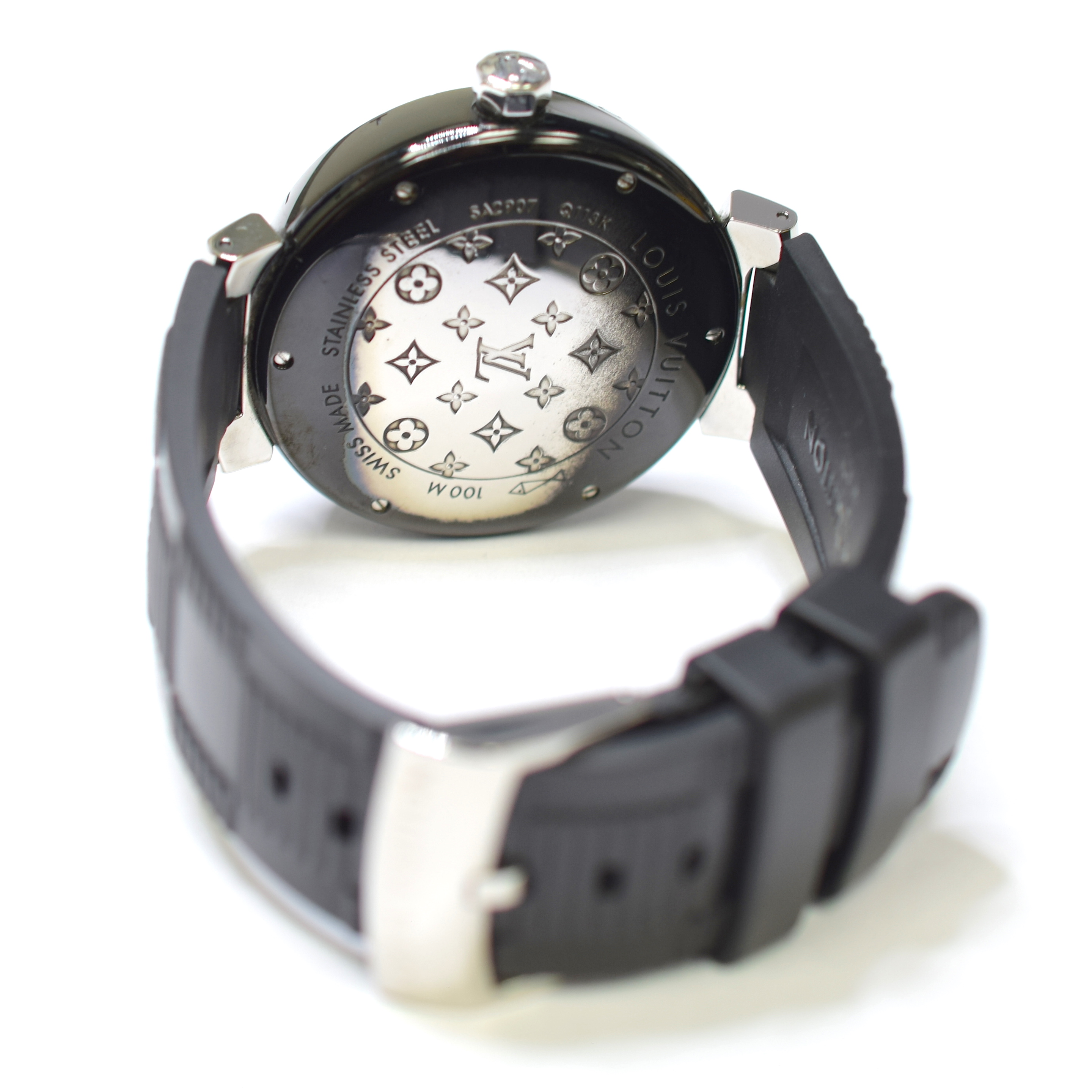 e338673d2850 Louis Vuitton Tambour Moon GMT 41.5mm Stainless Steel Watch on Rubber Strap  Q113