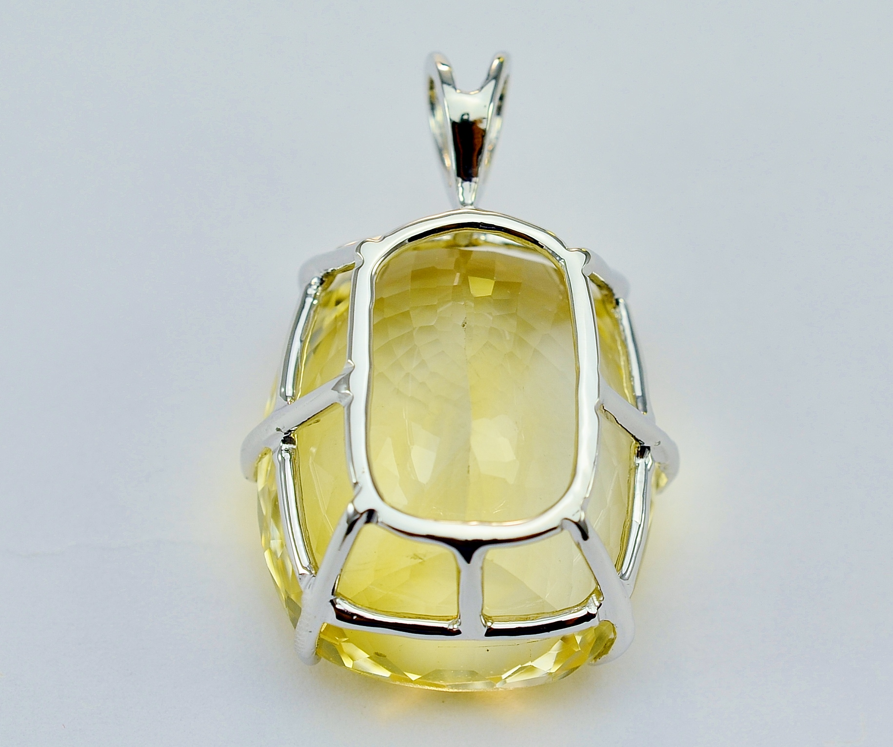 14K White Gold 73.33 Carats Yellow Topaz Large Pendant ...