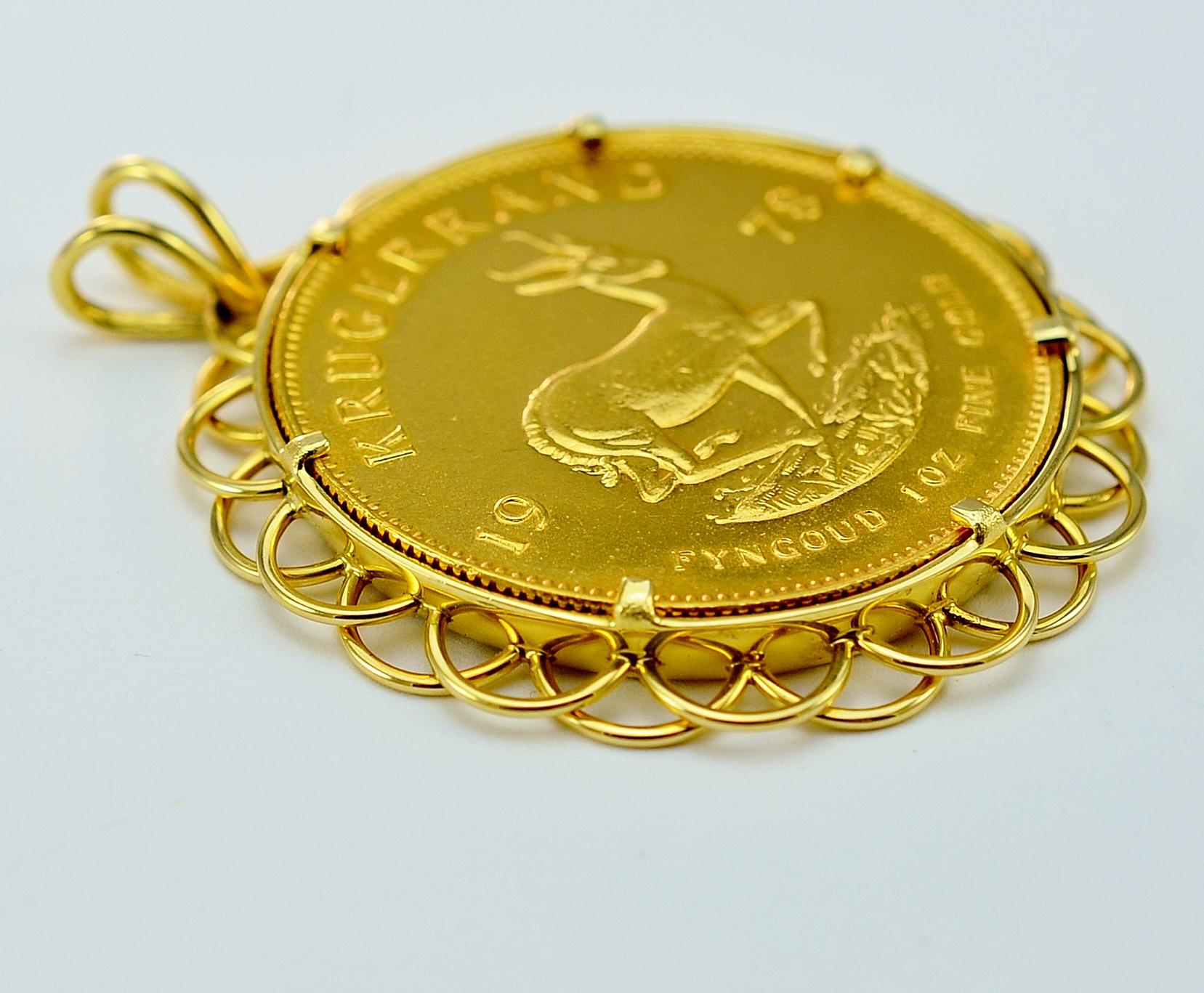 1 Ounce Krugerrand 1978 Fyngoud Fine Gold Suid Afrika South Africa Coin With Custom Made Gold