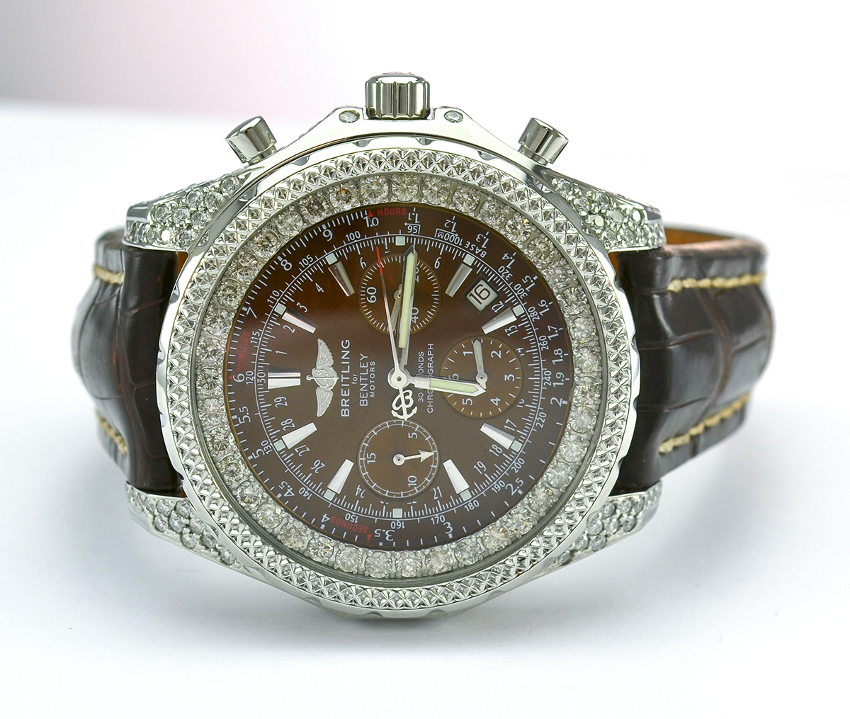 breitling bentley stainless steel custom diamond brown. Black Bedroom Furniture Sets. Home Design Ideas