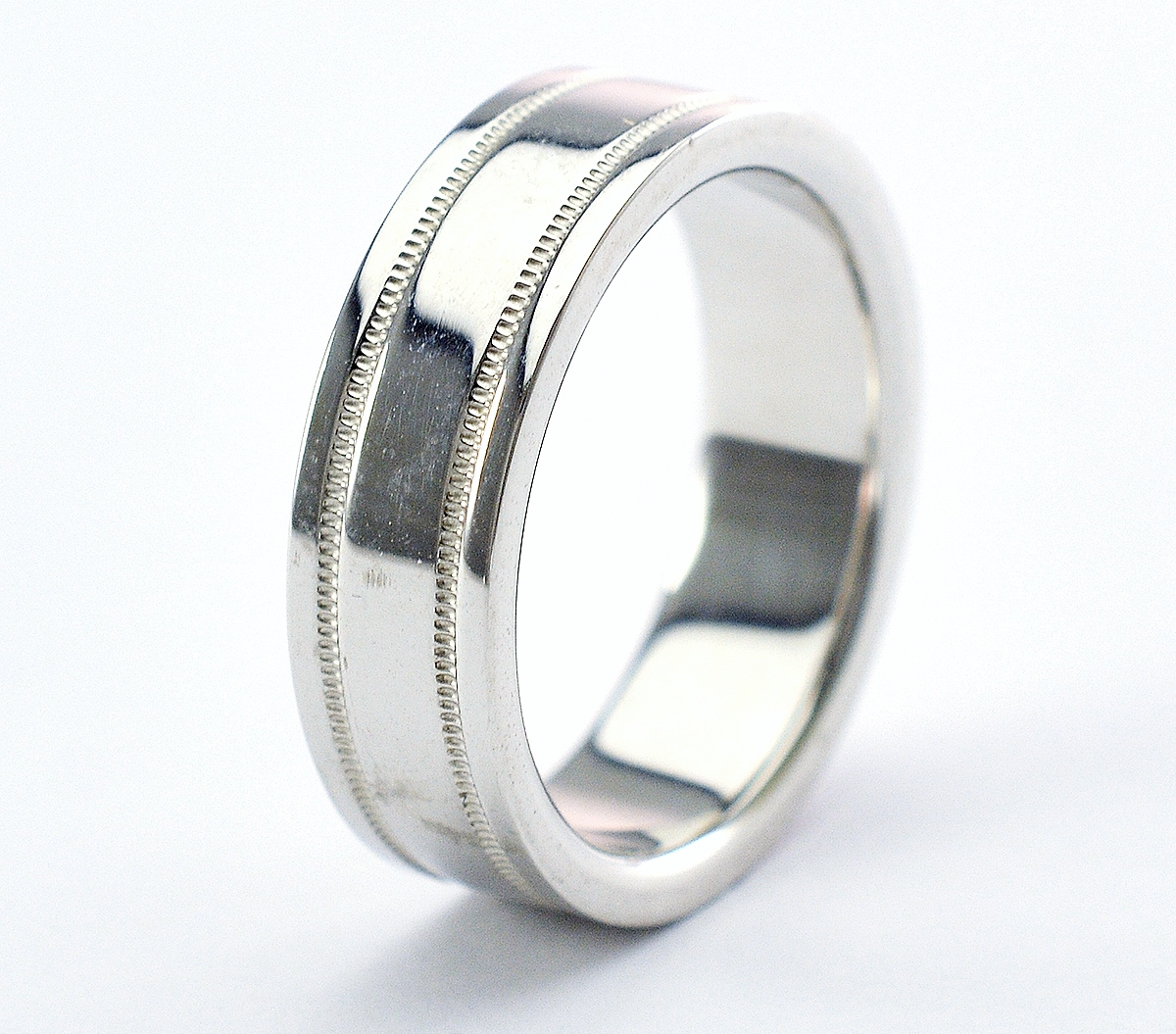 91a5b3f4d Image 1 of 4. Tiffany & Co. Platinum 13.40 Grams High Polished Lady's Band  With Double Milgrain