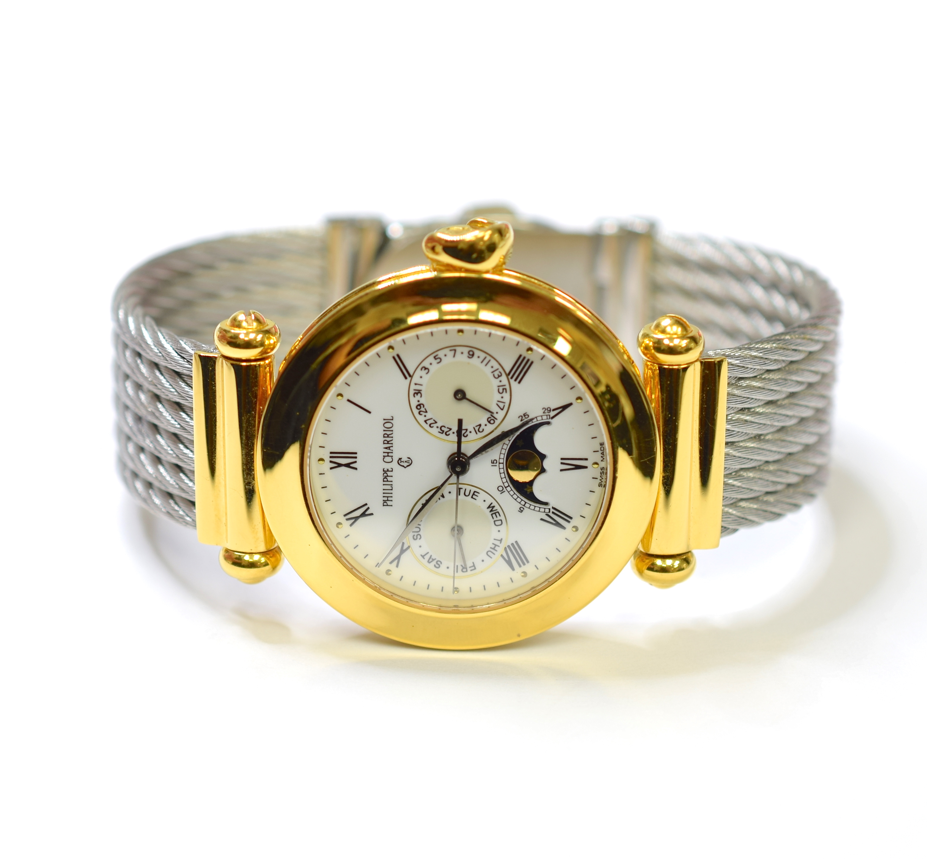Philippe Charriol Stainless Steel 18k Gold Plated White