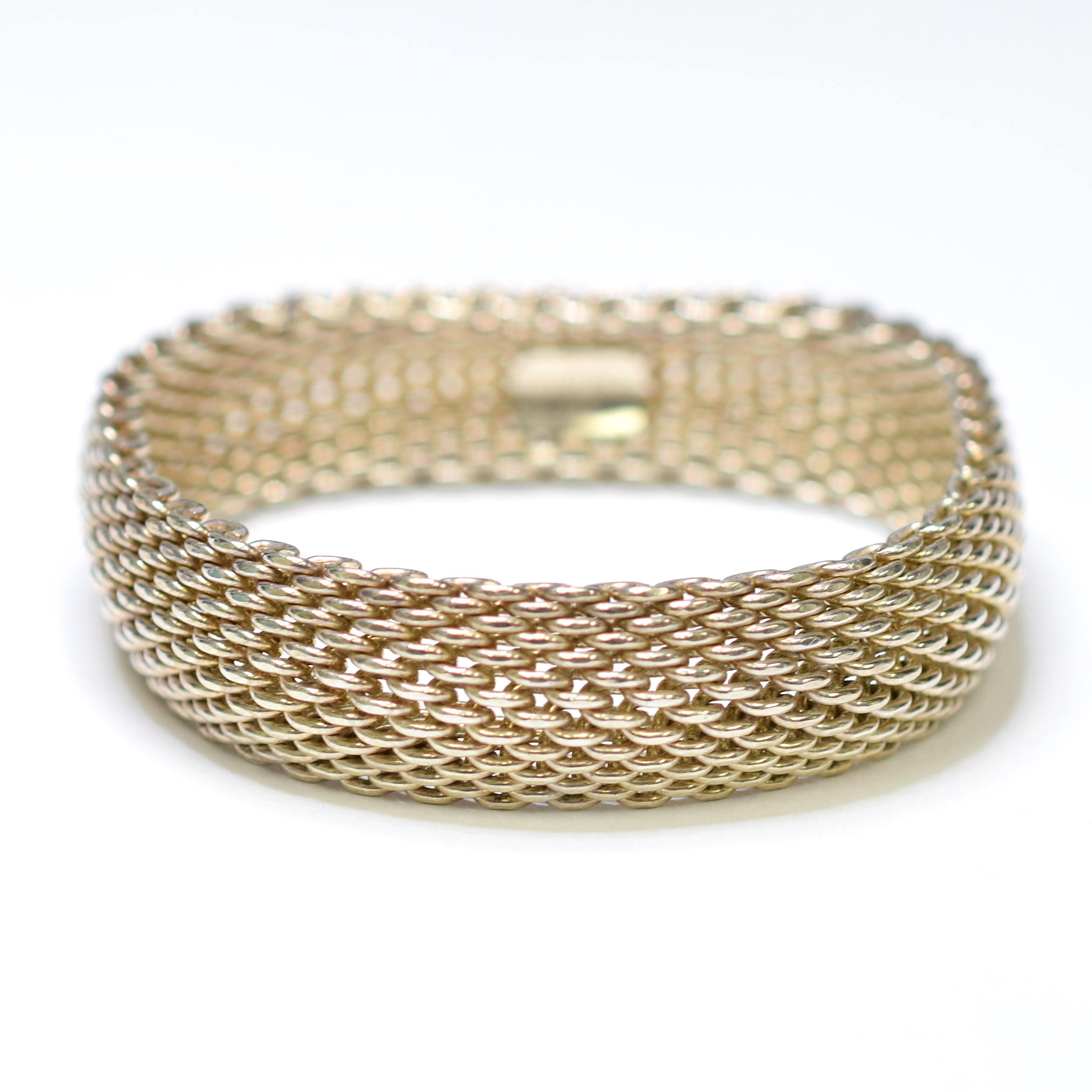53014d3b2 Tiffany & Co. 925 Silver 55.33 Grams Mesh Design Bangle Bracelet ...