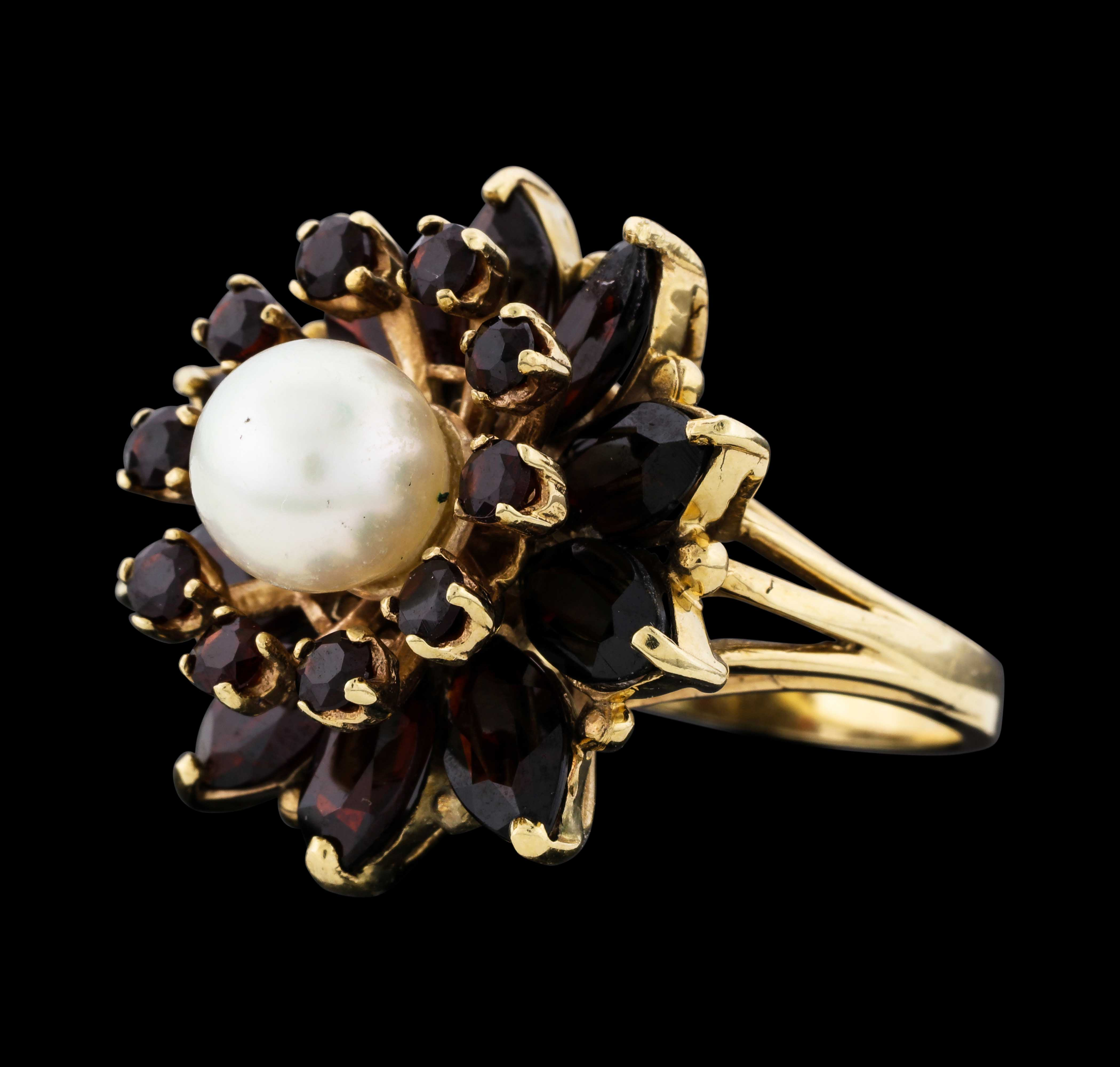 14k yellow gold 1040 grams garnet flower ring with pearl center 14k yellow gold 1040 grams garnet flower ring with pearl center mightylinksfo