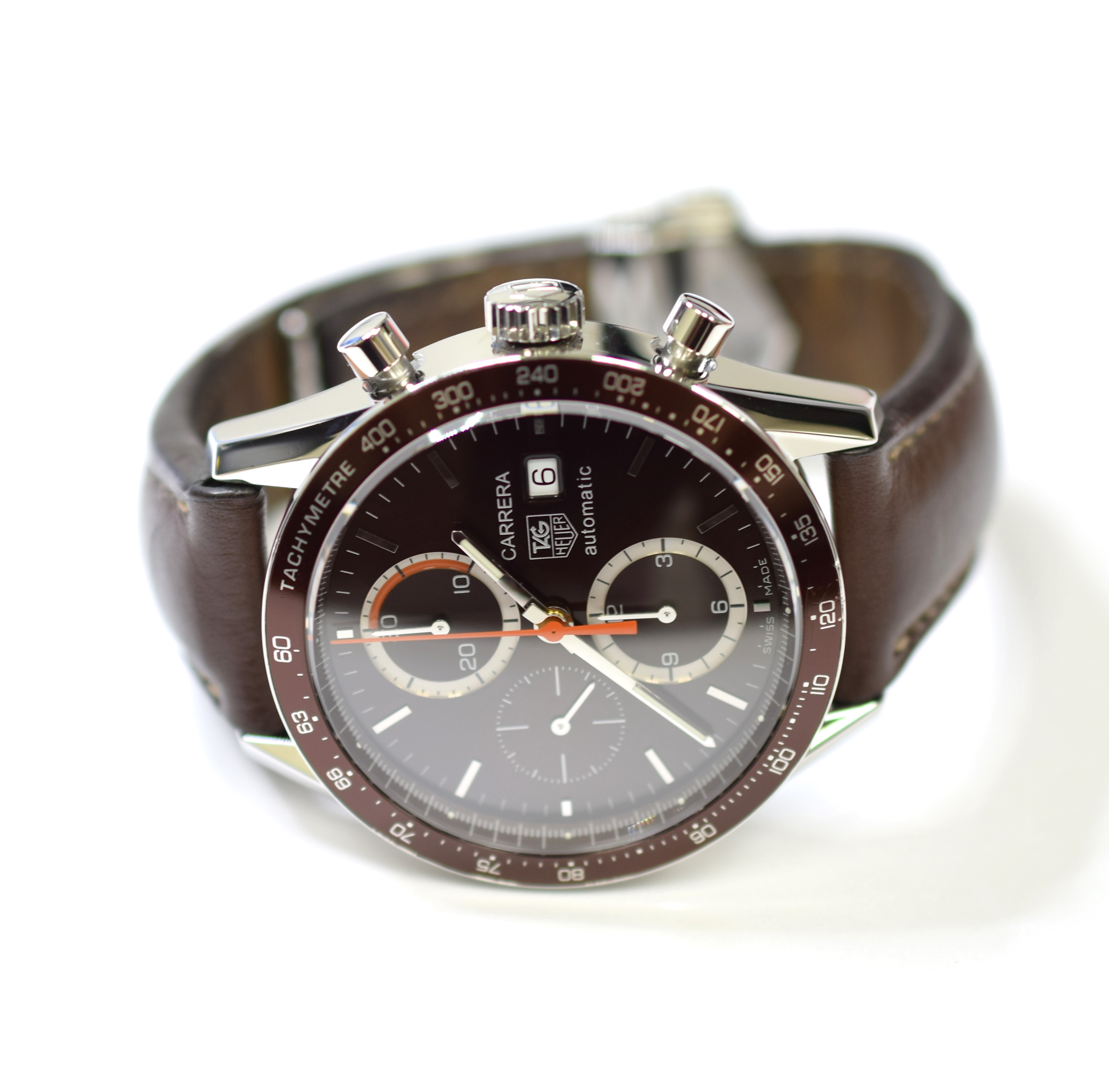 Tag Heuer Carrera Chronograph 41 5mm Stainless Steel Mens Watch On Leather Strap