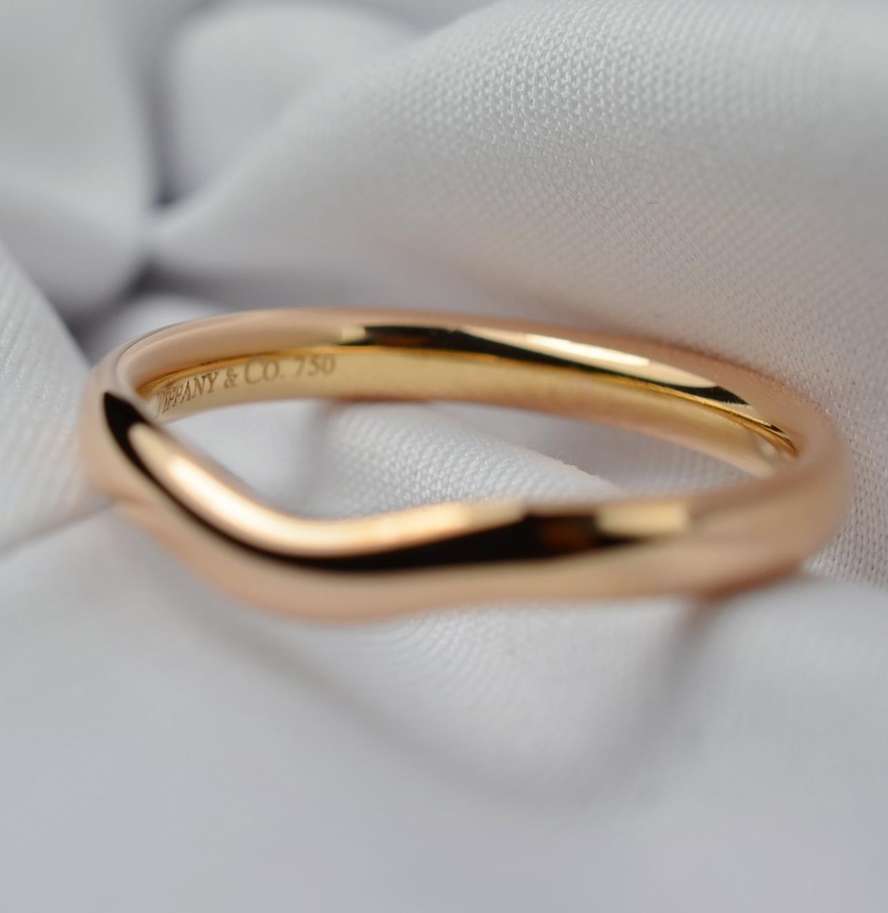 Tiffany Co Elsa Peretti 18k Rose Gold Curved Wedding Band