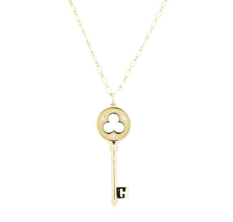 33416b566 Tiffany Co 18k Yellow Gold 11 40 Grams Diamond Clover Key Pendant