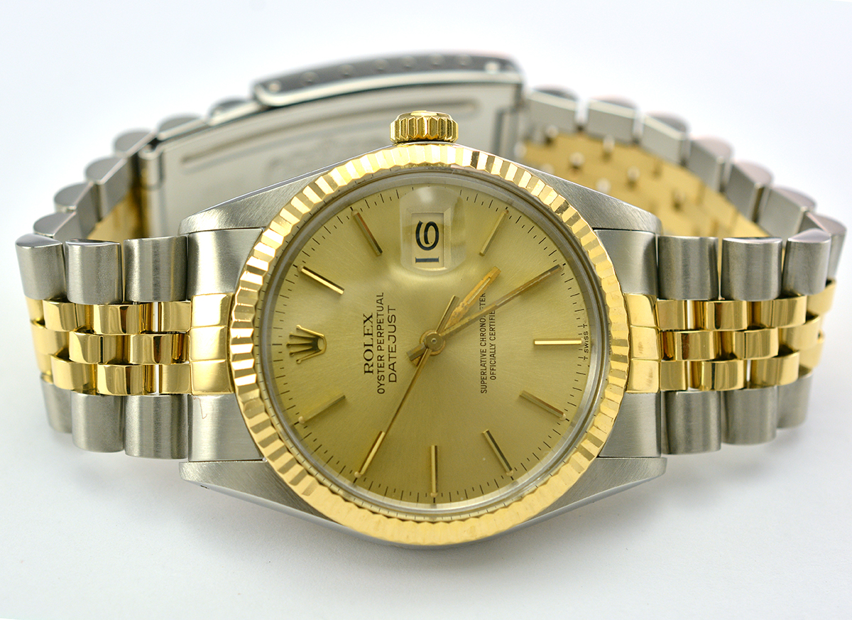 c4586afd0a76 Rolex Datejust Stainless Steel and 18K Gold Fluted Bezel Gold Dial Men s  Watch 34MM