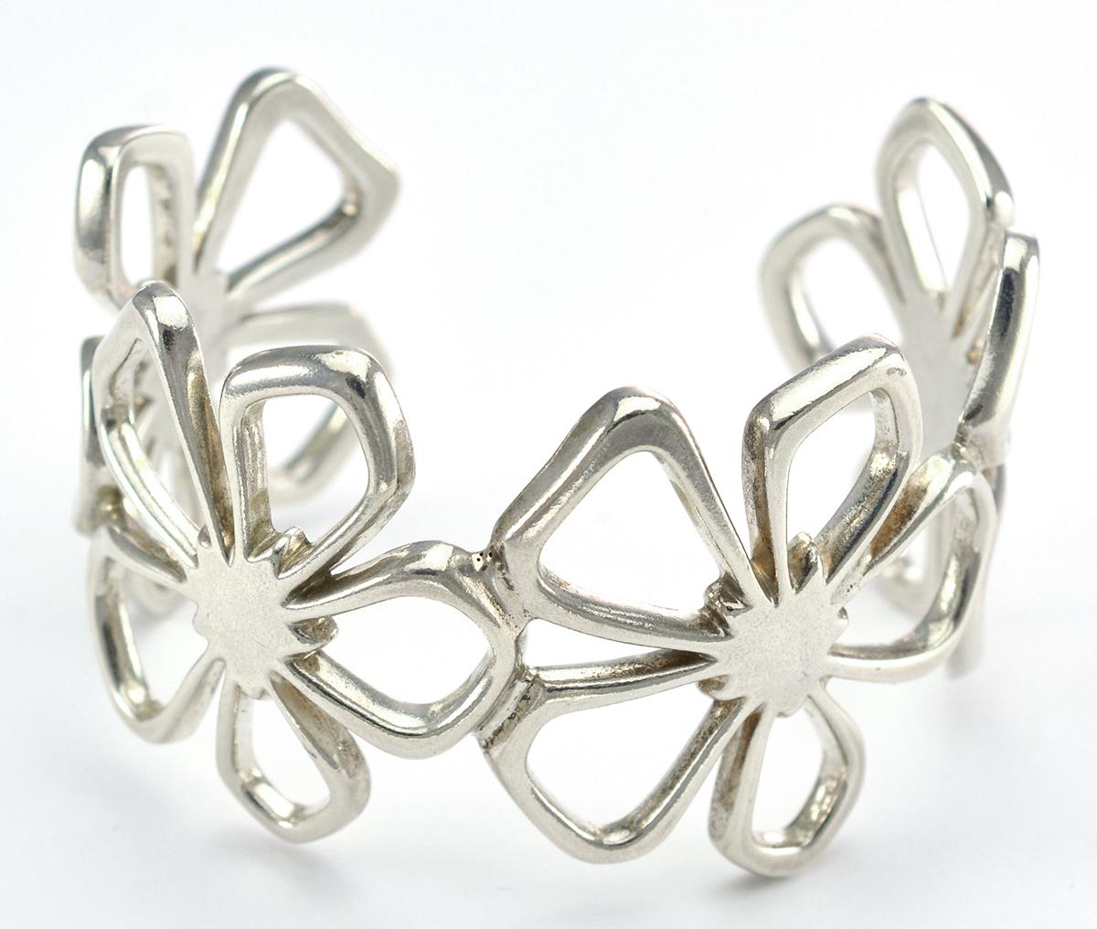 Tiffany Co 925 Silver Flower Design Cuff Style Bangle Bracelet