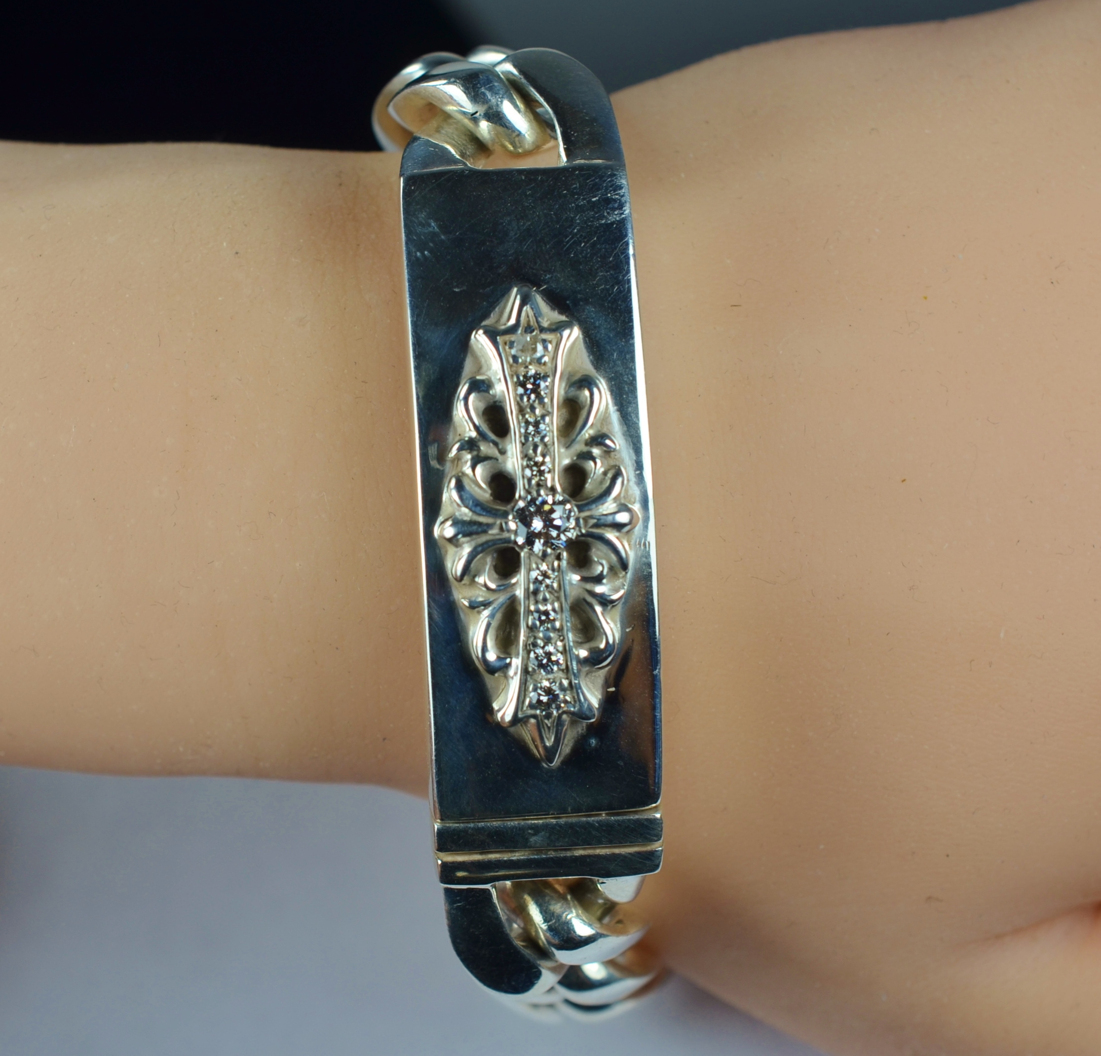 Chrome Hearts Id Bracelet Dagger Pave Diamond Classic