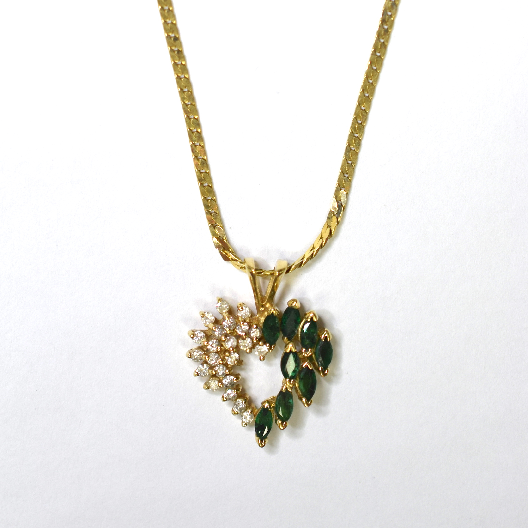 14k yellow gold 630 grams emerald and diamond heart pendant with 14k yellow gold 630 grams emerald and diamond heart pendant with gold chain aloadofball Images