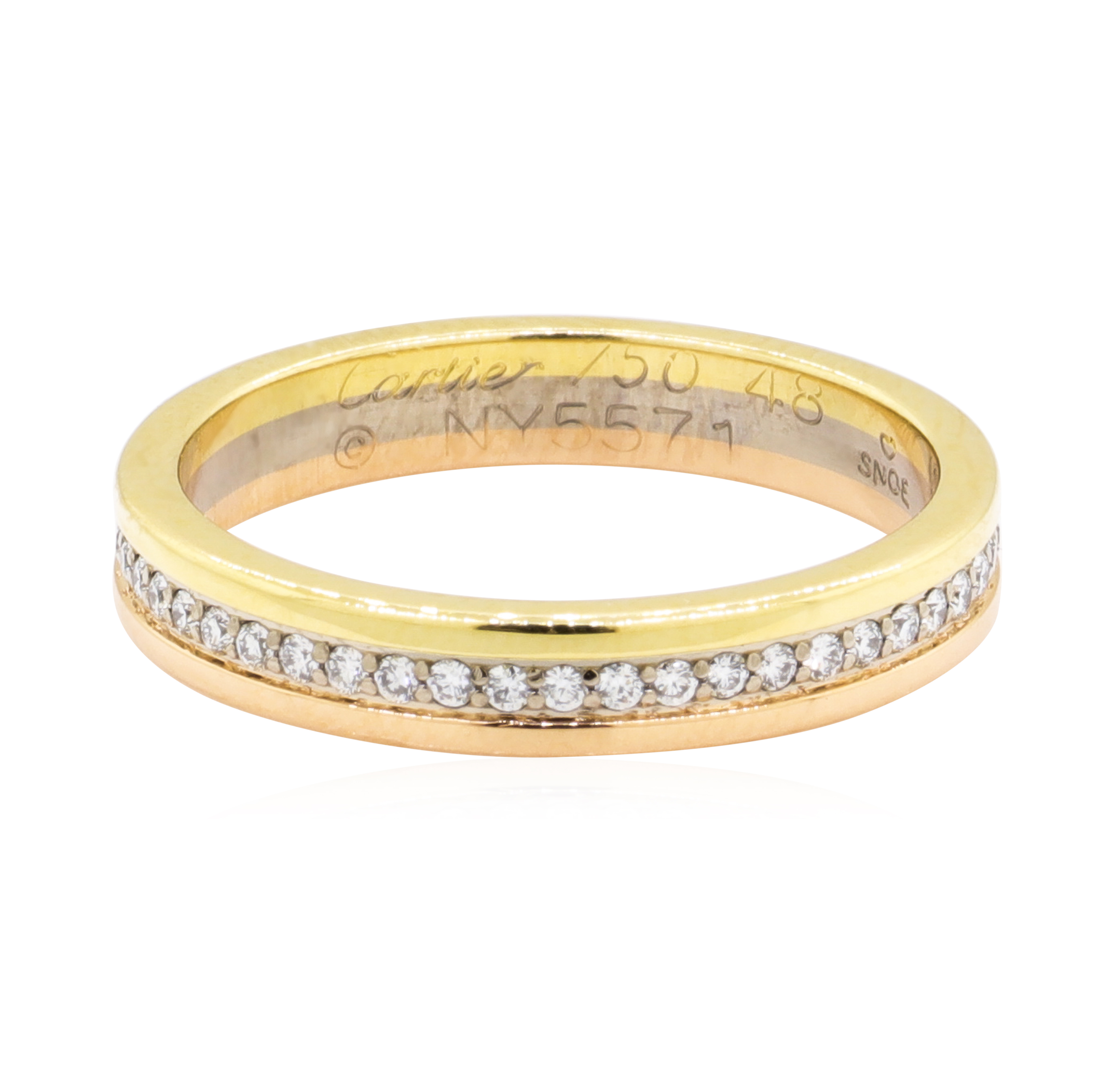 54a83a5a9af1a Cartier 18K Two Tone Gold 3.70 Grams Diamond Eternity Style Band ...