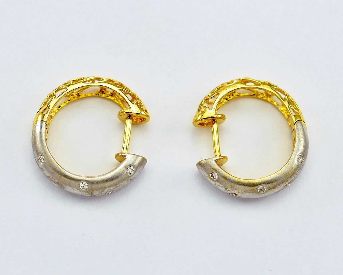 14k Two Tone Gold Bezel Set Diamond Hoop Earrings