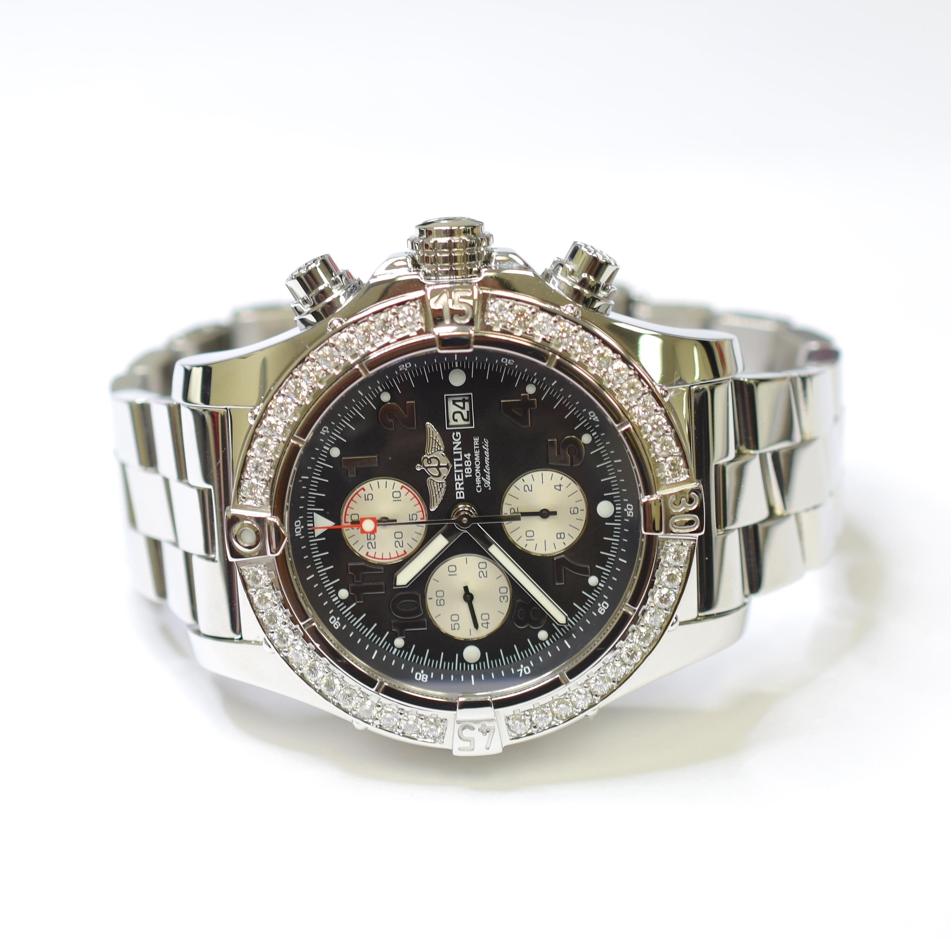 547a6588577 Breitling Super Avenger II 48mm Stainless Steel Custom Diamond Mens ...