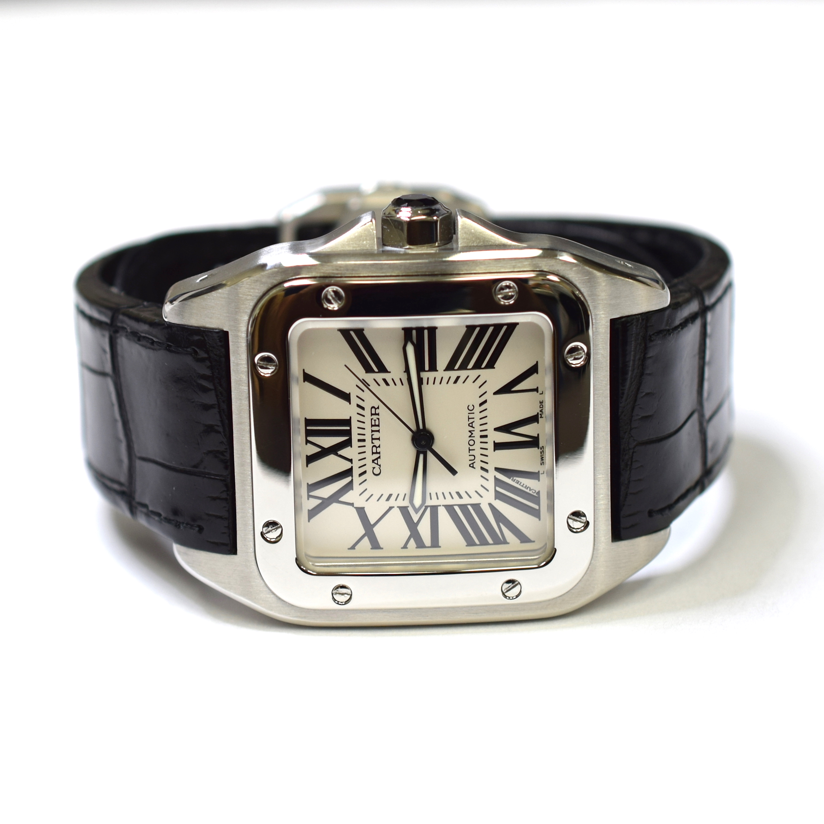 31b15920e8643 Cartier Santos 100 XL 38mm Stainless Steel Mens Watch on Leather Strap 2656