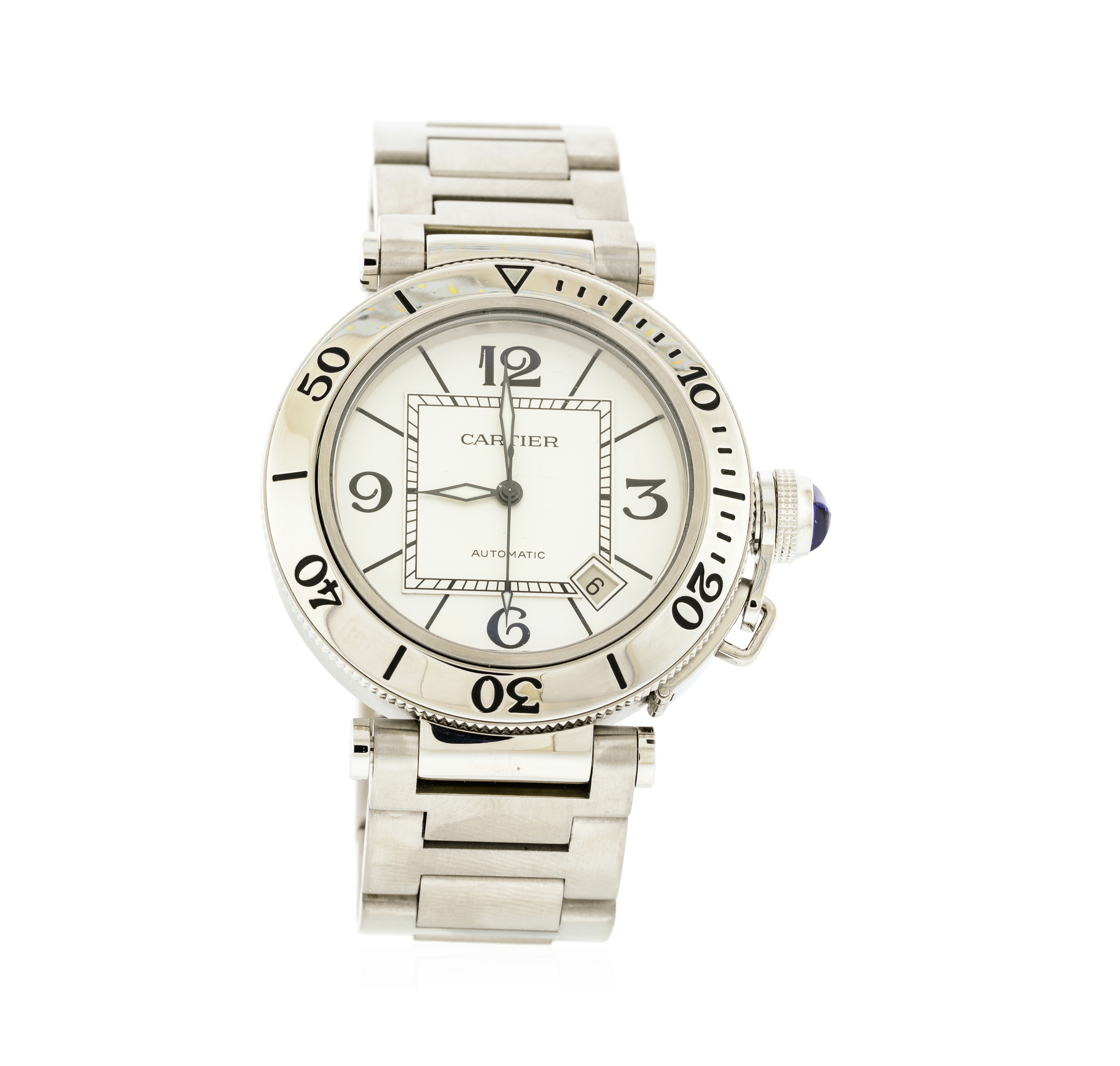 6fc96706a453 Image 1 of 5. Cartier Pasha Seatimer Stainless Steel Silver Dial Men s Watch.  Listing ID  12294364 ...