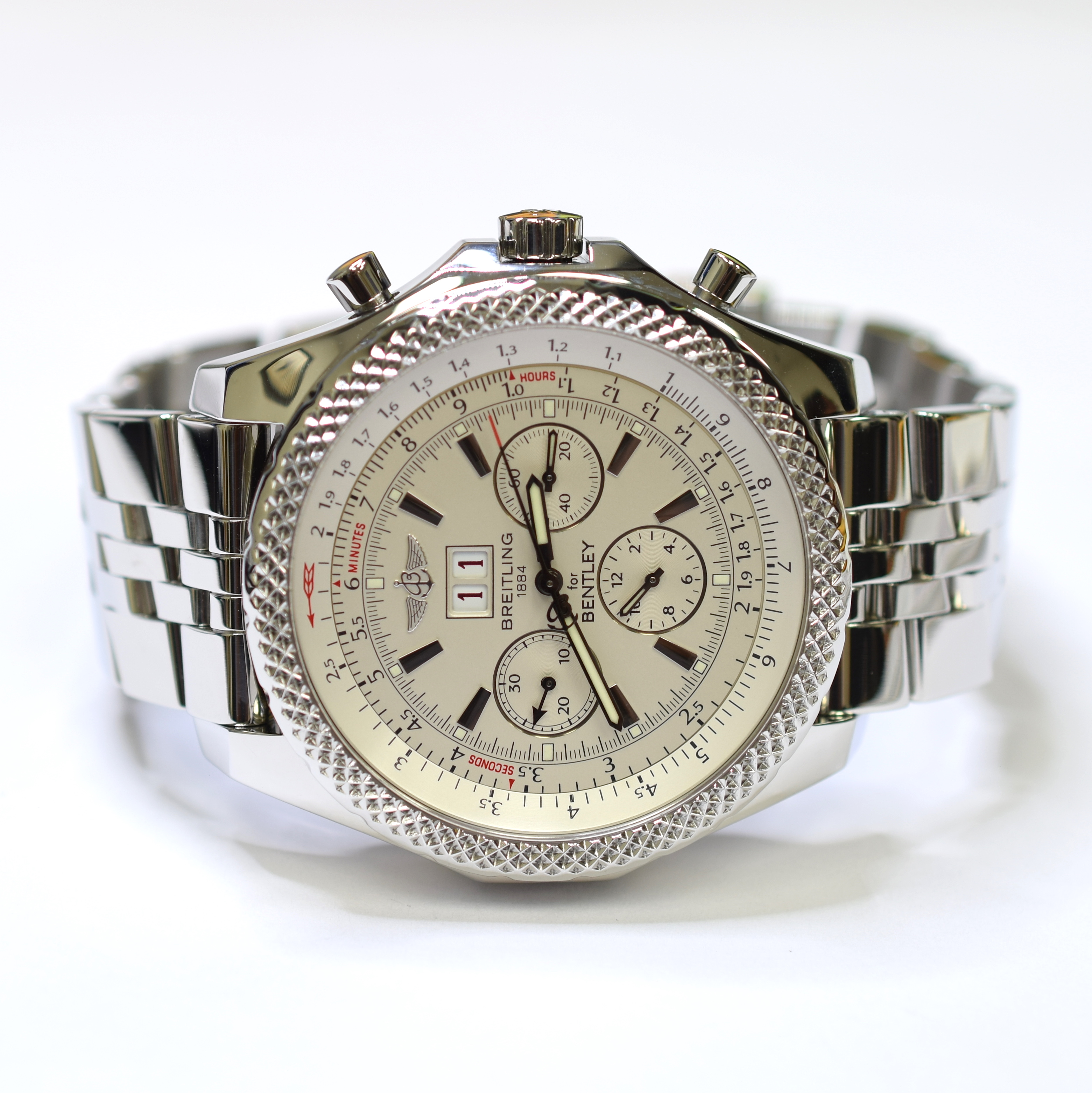 Breitling For Bentley 6 75 Chronograph 48 7mm Stainless Steel Mens Watch A44362 Property Room