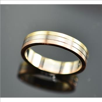 $1 450 Retail Cartier Three Gold Ring 18K Tri Color Gold 5 MM Size