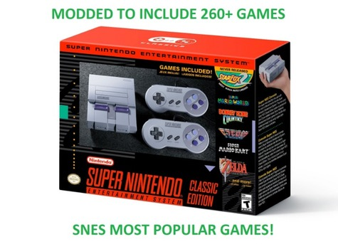 New Super Nintendo Entertainment System (SNES) Classic Modded w/ 260+ Games