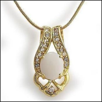 4.91 CT Opal & White Sapphire Designer Necklace List Price $680!