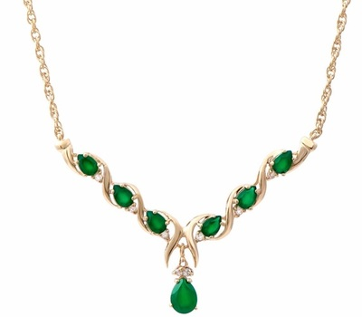 3.40 CT Green Agate & White Topaz 18KGP Designer Necklace List Price $765!