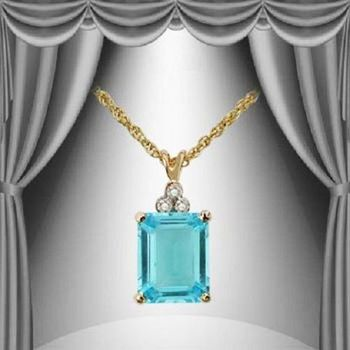 4.75 CT Blue Topaz & Diamond 18KGP Designer Necklace