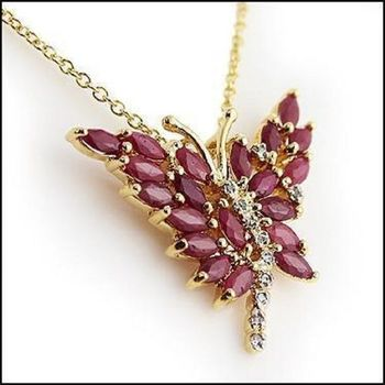 4.29 CT Ruby & Diamond Butterfly Necklace List Price $680!