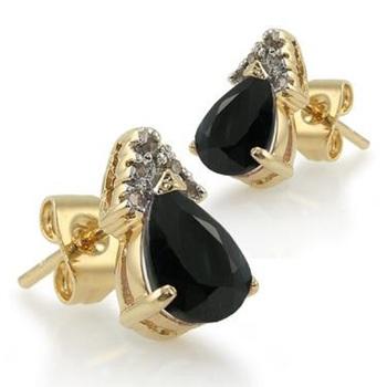 3.18 CT Black Sapphire & Diamond Designer Earrings