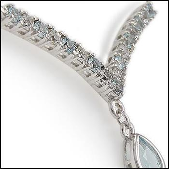 5.55 CT Blue Topaz & White Sapphire Designer Necklace List Price $690!
